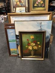 Sale 8819 - Lot 2174 - 4 Artworks incl Jockie & Horse, Sea Views, Flowers, Plus Greg Norman Poster