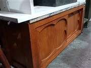 Sale 8979 - Lot 1089 - Low Lying Marble Top Hall Cabinet (H49 W:114 D:38cm)