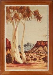 Sale 8995 - Lot 2018A - Kenneth Entata (1932 - 1982) - Central Australian Landscape 52.5 x 34.5 cm