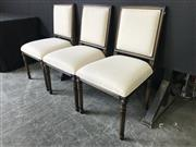 Sale 9026 - Lot 1051A - Set of Six Montigny-Paris Timber Framed Dining Chairs with Cream Upholstered Back & Seat (H:95 x W:52 x D:62cm)