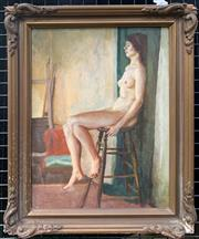 Sale 9041 - Lot 2005 - Paul Delpratt, Nude (Study for Aphrodite) 1962, oil on board, frame: 34 x 24cm, frame: 43 x 33cm, signed lower right, inscribed on...