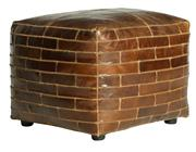 Sale 9075T - Lot 47 - A square Ottoman in vintage aged leather with diamond embroidery detailing. H: 43x W: 52x D:52
