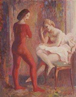 Sale 9161 - Lot 510 - ARTHUR MURCH (1902 - 1989) Untitled (Ballet Dancers) oil on board 37 x 29.5 cm (frame: 50 x 43 x 5 cm) signed lower right. Provenanc...