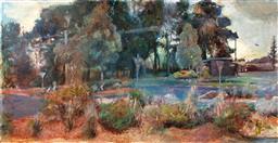 Sale 9249A - Lot 5023 - RONALD JOHN NEAL (1969 - ) Roundabout Sunrise, 2004 oil on canvas 91 x 183 cm (frame: 95 x 188 cm) signed