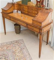 Sale 8341A - Lot 78 - A superb satinwood and inlaid Carlton House desk in the manner of Thomas Sheraton, H 100 x W 137 x D 60cm