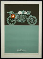 Sale 8439A - Lot 65 - Carby Tuckwell, Original Deus ex Machina limited edition silkscreen print, The American 1200, 98 x 72cm inc. framing