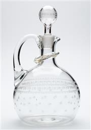 Sale 8599A - Lot 36 - An antique crystal ewer, c. 1900 with hand cut stars and etched decoration, H 24cm