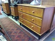 Sale 8601 - Lot 1177 - Pair of Three Drawer Chests together with Two Drawer Bedside on Metal Bases