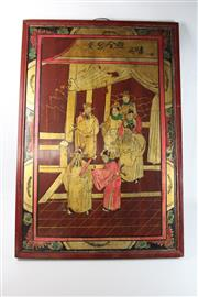 Sale 8747 - Lot 21 - Framed Chinese Painted Work Of Elders On Timber (95cm x 67cm)