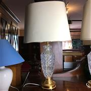 Sale 8795K - Lot 231 - A pair of cut glass lamps with shades