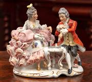 Sale 8804A - Lot 79 - A Dresden crinoline figure chess group Height 16cm