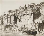 Sale 8813 - Lot 505 - Lionel Lindsay (1874 - 1961) - Palaces, Benares, 1930 25 x 30cm