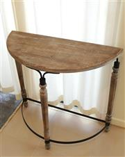 Sale 8858H - Lot 20 - Small Occassional Half Moon Timber and Metal Table, H 77 x W 79 x D 35 cm -