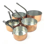 Sale 8872C - Lot 59 - Set of 5 French Copper Saucepans