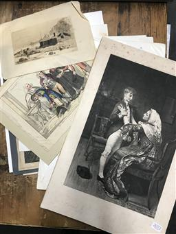 Sale 9113 - Lot 2072 - Group of Assorted antique engravings and prints incl. George Baxter, A Fullwood, Fred Scholl, George Joy (signed)
