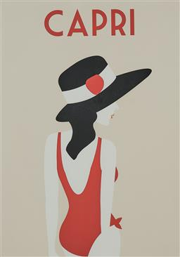 Sale 9154JM - Lot 5099 - ARTIST UNKNOWN Capri decorative print 82 x 57.5 cm (frame: 102 x 75 x 4 cm)