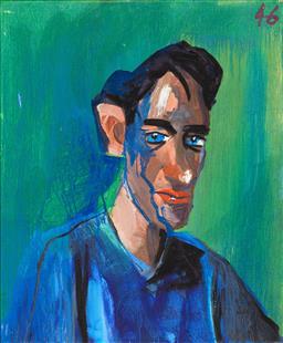 Sale 9252AD - Lot 5046 - MCLEAN EDWARDS (1972 - ) - Untitled (Portrait on Green) 2019 87 x 71.5 cm (frame: 90 x 74.5 cm)