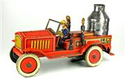 Sale 8330T - Lot 5 - German Tinplate Clockwork Sparking Fire Engine; probably by Arnold with three tin firemen, hand break and flint spark tank, marked M...