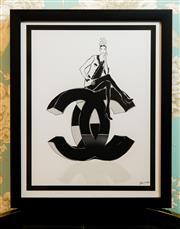 Sale 8448A - Lot 94 - Tiffany La Belle Coco Chanel Fashion illustration print featuring a beautiful metallic lustre finish & black frame  Condition: New...