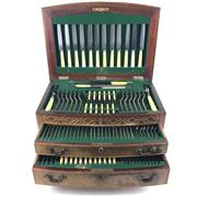 Sale 8545N - Lot 196 - J.R. Ogden & Sons Harrogate & London Oak Cutlery Canteen for 12 (131 Pieces)