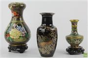 Sale 8581 - Lot 93 - Cloisonne Vase on Stand Together with Another and Ceramic Example (H 24cm, 16cm and 20cm) ( 3)