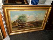 Sale 8682 - Lot 2082 - Artist Unknown - Pastoral Scene, oil on canvas, 57 x 82cm (frame size), unsigned