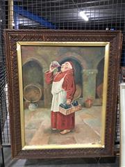 Sale 8750 - Lot 2088 - Artist Unknown - Taste Testing Friar oil on painting (AF), unsigned 77 x 63cm (frame)