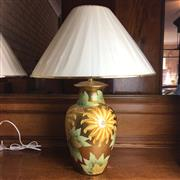 Sale 8795K - Lot 232 - A pair of hand painted floral lamps