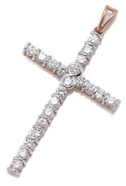 Sale 9054 - Lot 397 - A 9CT GOLD CRUCIFORM PENDANT; 41 x 26mm rose gold cross set with 21 round brilliant cut zirconias, wt. 3.50g.