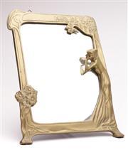 Sale 9070 - Lot 2 - Brass Art Nouveau Style Mirror (34cm x 25.5cm)