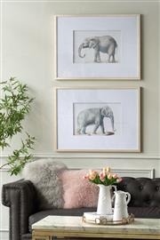 Sale 9075T - Lot 49 - A pair of majestic elephant prints in metallic frames. H:80 x W: 60x D:3