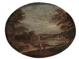 Sale 9099A - Lot 5090 - English School C18th - Travelling Family 16 x 21 cm