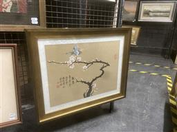 Sale 9111 - Lot 2030 - Framed Oriental Hand Painted Work on Paper, Depicting Butterfly & Blossoms
