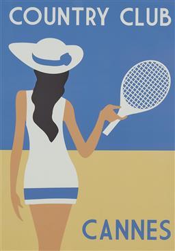 Sale 9154JM - Lot 5100 - ARTIST UNKNOWN Country Club, Cannes decorative print 82 x 57.5 cm (frame: 102 x 75 x 4 cm)