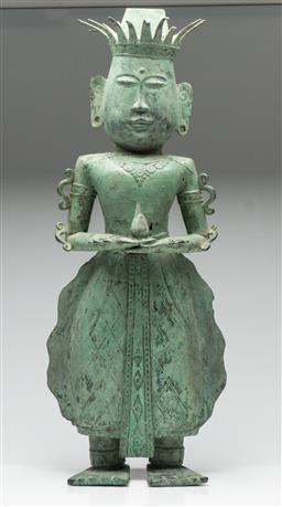 Sale 9211 - Lot 38 - A Bronze Cultural Figure Holding Bulb (H:69cm)