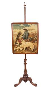 Sale 8439A - Lot 33 - A Victorian adjustable tapestry fire screen, H 148cm
