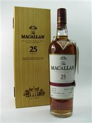 Sale 8290 - Lot 406 - 1x The Macallan 25YO Sherry Oak Cask Highland Single Malt Scotch Whisky - in timber box