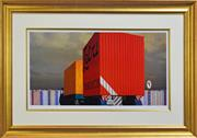 Sale 8301A - Lot 89 - Jeffrey Smart (1921 - 2013) - Truck and Trailer Approaching a City, 1973 47 x 95cm