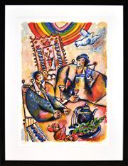 Sale 8394 - Lot 509 - Theo Tobiasse (1927 - 2012) - Les Siecles Coulent entre nos Reves 76 x 56cm (frame size: 107 x 82.5cm)