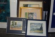 Sale 8410T - Lot 2045 - Framed Watercolours (3) & Print (1) incl Greenways by Hulme