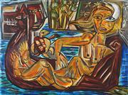 Sale 8839A - Lot 5032 - Pasquale Giardino (1961 - ) - Dog, Face, Moon, Woman & Boat 79 x 106cm