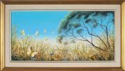 Sale 8895 - Lot 2008 - Sue Nagel - Wildflowers and Butterfliesoil on board, 41.5 x 72cm (frame), signed