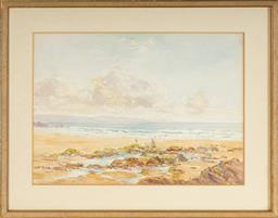 Sale 9111 - Lot 2025 - Hugh Casson (1910 - 1999) - Beach Scene, 1951 27.5 x 38.5 cm (frame: 51 x 40 x 1 cm)