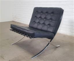 Sale 9154 - Lot 1088 - Barcelona style lounge chair (h:74 x w:76 x d:76cm)