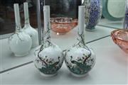 Sale 8339 - Lot 68 - Famille Verte Pair of Peacock Vases