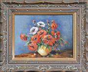 Sale 8349A - Lot 77 - Hugo Kolbald (XX) - A Vase of Red Flowers 29 x 39cm