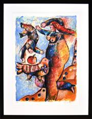 Sale 8394 - Lot 573 - Theo Tobiasse (1927 - 2012) - LOiseau Prophete 69 x 92cm (frame size: 107 x 82.5cm)
