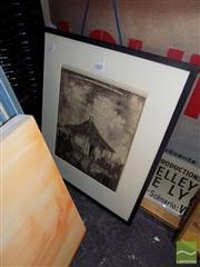 Sale 8474 - Lot 2083 - Framed Plate Hardy Wilson Gate Lodge at Winbourne, Mulgoa NSW