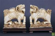 Sale 8508 - Lot 50 - Chinese Carved Ivory Pair of Kylins