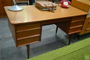 Sale 8528 - Lot 1001 - Danish Teak Desk with Six Drawers (key in office)